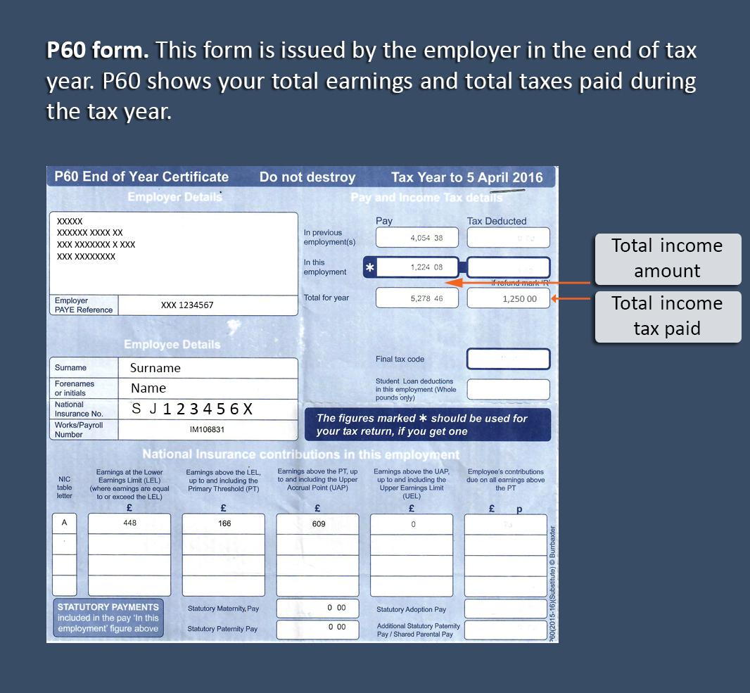 Copy Of P60 >> UK tax refund - AmberTax